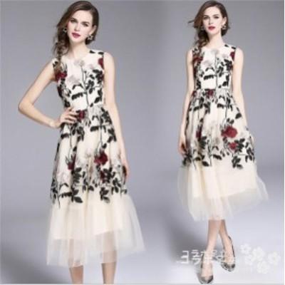 花柄刺繍ワンピース パーティードレス 演奏会 大人 発表会  結婚式 ノースリーブドレス 袖あり ウェディングドレス パーティー 二次会