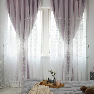 姫カーテン 遮光 姫系 カーテン 刺繍カーテン レース 北欧 カーテン かわいい 遮光率90% 遮光カーテン (幅100cm×丈110cm 2枚組,