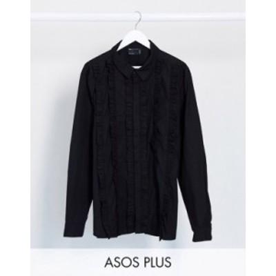 エイソス メンズ シャツ トップス ASOS DESIGN Plus regular fit shirt with extreme ruffle front in black Black
