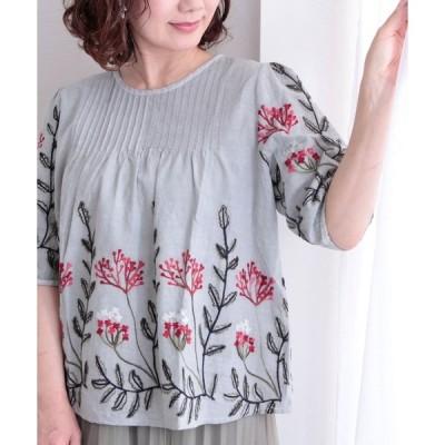 シャツ ブラウス ナチュラルなボタニカル刺繍のトップス