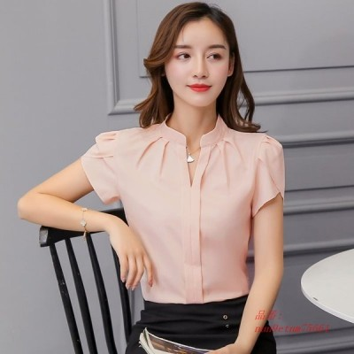 韓国 ファッション レディース トップス と ブラウス シフォン 女性 ブラウス 半袖 白 シャツ プラスサイズ Xxl トップス AliExpress グループ上 レディース