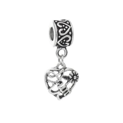 Sexy Sparkles Aunt Love Heart Charm Bead Compatible for Most European Snake