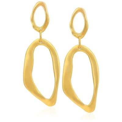 Kenneth Jay Lane Satin Gold Open Drop Earrings
