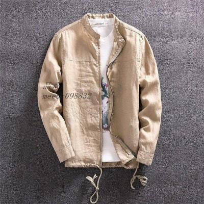 長袖 ジャケット 無地 スタンドカラーシャツ メンツ スプリング 秋 大人気 上着 薄手 コート カジュアル