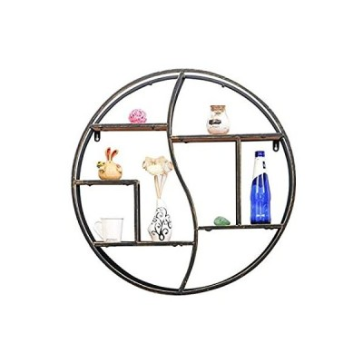 特別価格WYFZT Floating Wall Shelves, Round Wood and Metal, Modern Rustic Geometric 好評販売中