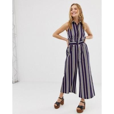 エイソス レディース ワンピース トップス ASOS DESIGN button front collar culotte jumpsuit in stripe