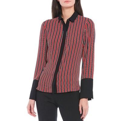 アンクライン レディース シャツ トップス Crepe de Chine Oxford Stripe Long Sleeve Covered Placket Button Front Blouse