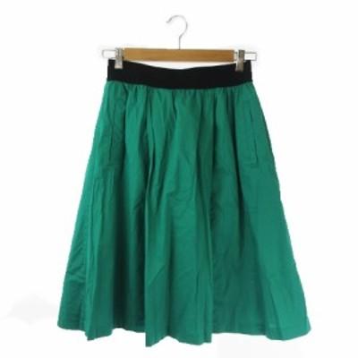 【中古】プラステ PLST 20020801 スカート フレア ひざ丈 2 緑 グリーン /AO23 ☆ レディース