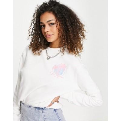 リー Lee Jeans レディース スウェット・トレーナー トップス pink stripe seasonal logo sweatshirt in off white オフホワイト