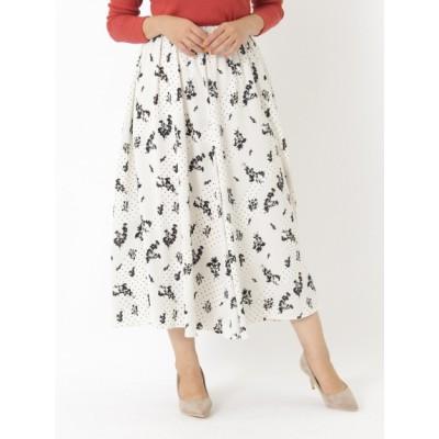 【大きいサイズ】【L-5L】花柄ロングフレアスカート 大きいサイズ スカート レディース