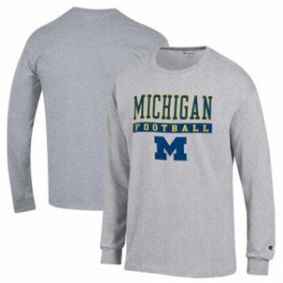 Champion チャンピオン スポーツ用品  Champion Michigan Wolverines Gray Football Lockup Long Sleeve T-Shirt
