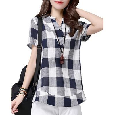 Sharphon レディースカジュアルシャツ無地半袖体型カバーゆったりAライン韓国風ワイシャツ大きいサイズオフィス通勤夏服(4XL、ネイビー