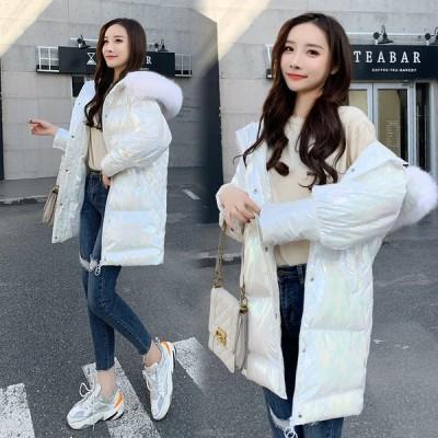 ダウンコート ロングコート ゆったり レディース 暖かい 体型カバー 20代 30代 アウター 厚手 中綿コート 女性 ダウンジャケット フード付き フェイクファー
