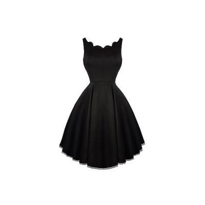 ハーツアンドローズロンドン ドレス ワンピース ハートs ローズs London ブラック Scallop Neck Flaレッド 50s スタイル Swing ドレス UK