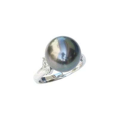 パール リング レディース 真珠リング 指輪 タヒチ黒蝶真珠ブラックパール 黒真珠 12mm pt900 プラチナ ダイヤモンド フォーマル プレゼント ギフト 人気