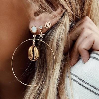ピアス 3ペアセット アクセサリー レディース 女性用 ゴールドカラー 海星 ヒトデ 目 貝殻 シェル サークル 両耳用 かわいい おしゃれ シンプル