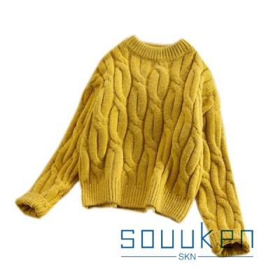 セーター レディース ショートタイプ 太い毛糸 無地 長袖 丸首 トップス ニット オーバーサイズ ゆったり 弾力性 厚手 保温 暖かい