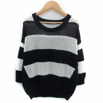 【中古】アリュメール ニット カットソー 七分袖 透かし編み ボーダー柄 1 ネイビー 紺 ホワイト 白 レディース