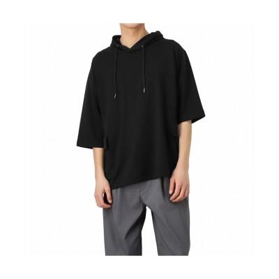 【マックハウス】 URBAN COLLECTION アーバンコレクション ストレッチミニ裏毛5分袖ガーデニングパーカー 9773530C メンズ ブラック M MAC HOUSE