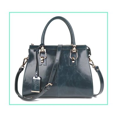 Yafeige Womens/Lady's Handbag Vintage Luxury Wax Genuine Leather Tote Shoulder Bag Satchel Purse(Grey Blue)並行輸入品