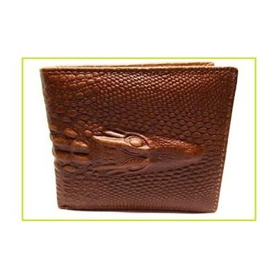 本革牛革 ワニ革 エンボス加工 二つ折り財布 ファッション US サイズ: Medium カラー: ブラウン【並行輸入