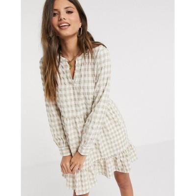 ヴェロモーダ ミディドレス レディース Vero Moda textured mini smock dress in cream gingham エイソス ASOS マルチカラー