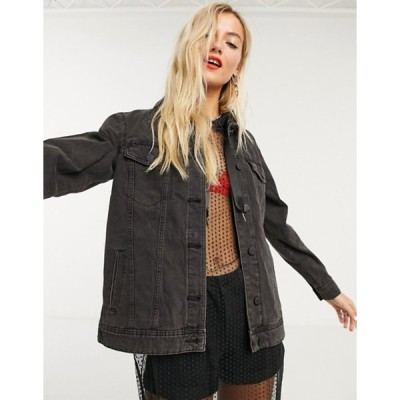 ノイジーメイ レディース ジャケット・ブルゾン アウター Noisy May oversized denim jacket in black
