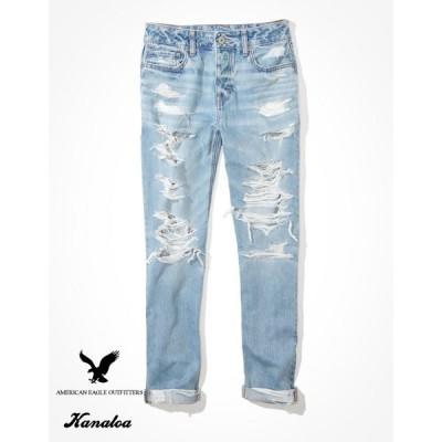 アメリカンイーグル トムガールジーンズ レディース ボーイズデニム パンツ ローライズ クラッシュ ゆったり ブルー 大きいサイズ