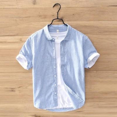 綿麻シャツ メンズ 半袖シャツ ストライプ カジュアルシャツ トップス ゆったり 綿麻 メンズシャツ 夏新作 薄物 涼しい ブルー カーキ コーヒー