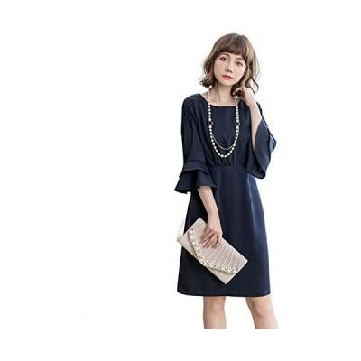 CALCOT dress 袖コンシャス 3色 結婚式 ワンピース ドレス 袖あり パーティードレス フォーマル レディース (ネイビー S)