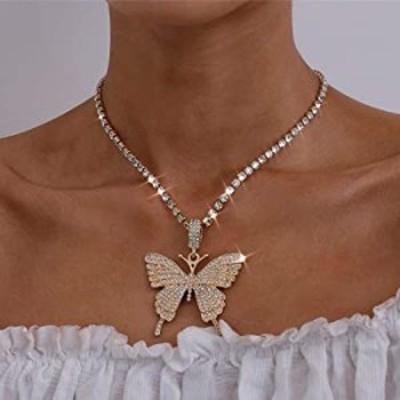 ネックレス Bodiy Boho バタフライペンダントネックレス ゴールドクリスタルチェーンネックレス ギフトジュエリー 女性と女の子用