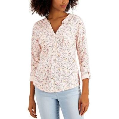 スタイル&コー Style & Co レディース トップス Cotton Printed 3/4-Button-Front Top Beloved Pink