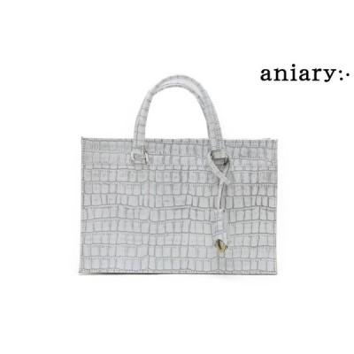 アニアリ / aniary バッグ 27-08001wh クロコエンボスレザー クラッチ ホワイト 国産(日本製)
