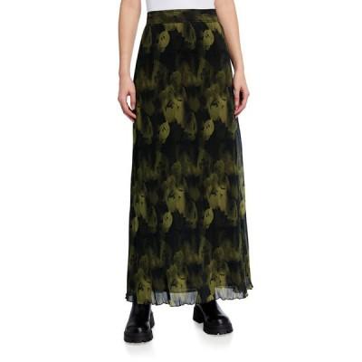 ガニー レディース スカート ボトムス Pleated Georgette Printed Long Skirt
