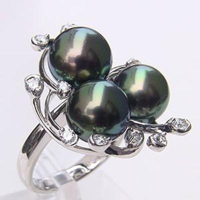 タヒチ黒蝶真珠 リング ダイヤモンド パール グリーン系 9-9.5mm K18WG ホワイトゴールド 指輪 指輪 おしゃれ