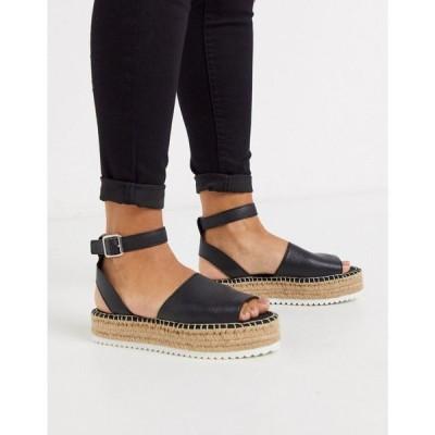 エイソス ASOS DESIGN レディース エスパドリーユ シューズ・靴 Jupiter flatform espadrille sandals in black ブラック