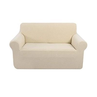 UNICE HOME ストレッチラブシートカバー 2クッションカウチ用 伸縮性家具カバー 1ピース リトルチェック ジャカード ラブシート スリップカ