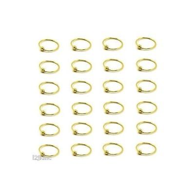 """ボディピアスジュエリー アメリカン ジュエリー ヒップホップ 24 pcs of Gold Plated .925 Sterling Silver 22G Ball Bead Nose Hoop 10mm - 3/8"""""""