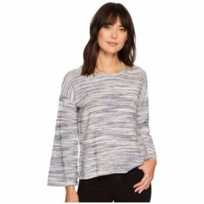 ヴィンス カムート ニット・セーター Long Sleeve Novelty Space Dye Sweater with Slit Neckband Twilight Sky