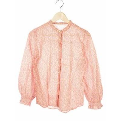【中古】総柄 シャツ ブラウス ピンク系 マルチカラー 長袖 トップス レディース