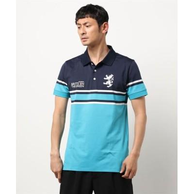 ポロシャツ パネルボーダー 半袖ポロシャツ