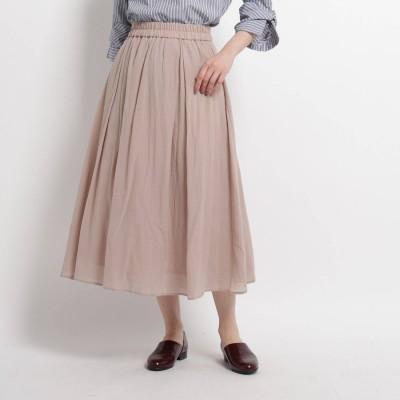 デッサン Dessin 【XS~Mサイズあり・洗える】コットンシフォンロングスカート (サンドベージュ)