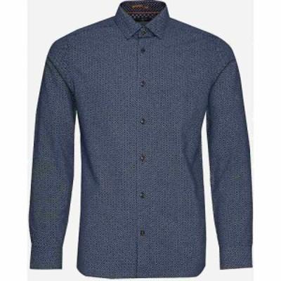 テッドベーカー TED BAKER メンズ シャツ トップス Offme geometric-print slim-fit modal-blend shirt NAVY