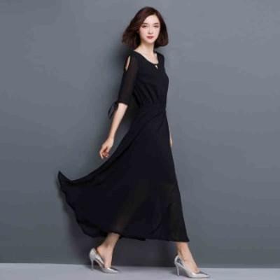 パーティードレス ロングドレス 大きいサイズ  結婚式 ワンピース ピアノ発表会 ドレス 袖付き 3XL 4XL 5XL