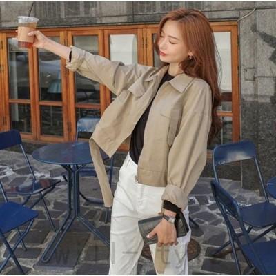 ミリタリージャケット韓国オルチャンストリートショート丈ベルトダンス衣装原宿系ファスナーきれいめアウターアメカジ