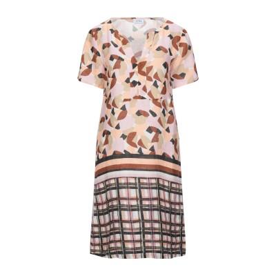 LFDL ミニワンピース&ドレス ピンク S リネン 100% ミニワンピース&ドレス