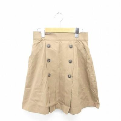 【中古】アダムエロペ Adam et Rope' スカート 台形 ひざ丈 飾りボタン バックジップ 綿 コットン 38 茶 ベージュ /TT31 レディース 【ベクトル 古着】
