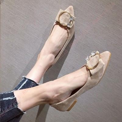 小さいサイズ パンプス レディース 浅口い とんがりトゥ フラット カジュアルパンプス Cバックル ぺたんこ靴 スウェード スエードパンプス 1.3cmヒール