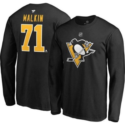 ファナティクス メンズ シャツ トップス NHL Men's Pittsburgh Penguins Evgeni Malkin #71 Black Long Sleeve Player Shirt