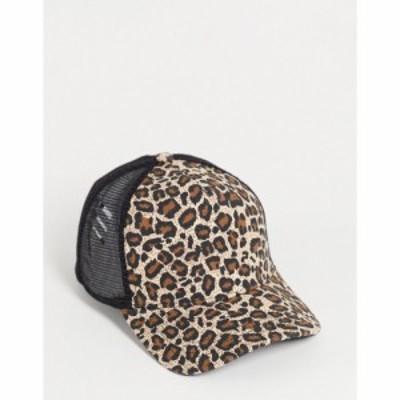 エイソス ASOS DESIGN メンズ キャップ 帽子 trucker cap in leopard print ブラウン